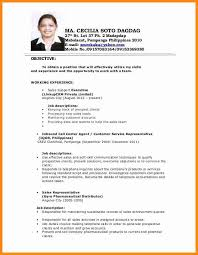 Applicant Resume Sample Filipino Simple The Best Letter Sample