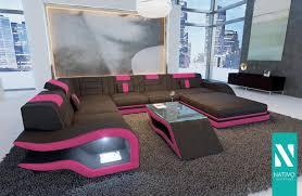 Nativo Wohnlandschaft Kunstleder Designer Sofa Hermes Xxl Mit Led Beleuchtung