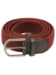 mens woven stretch belt burdy with leather look detailing burdy