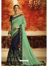 Jade Designer Sarees Jade Green And Navy Blue Embroidered Designer Georgette