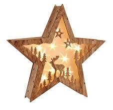 Led Weihnachtsstern Beleuchtung Fensterbeleuchtung Stern Schöner Holzstern Mit 10 Warmweißen Leds