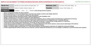 Seeking am hvac engineer for a semi government company based in bahrain. Solar Energy Systems Engineer Resume Sample