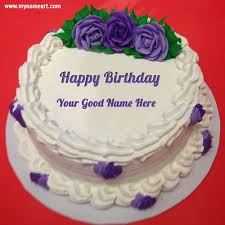 Purple Rose Flower Birthday Cake Image Edit