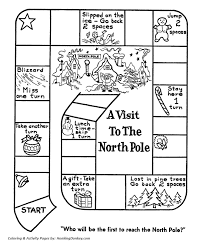 Small Picture Race to the North Pole Board Game Santa Activity Sheet