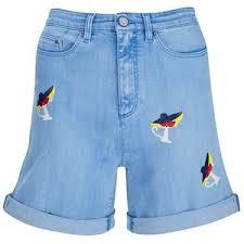 <b>Karl Lagerfeld</b> Women's Choupette Printed Denim Shorts - Light Blue