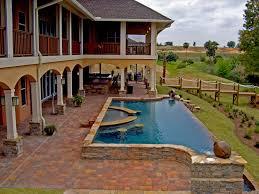 infinity pool design backyard. Brick Pavers Infinity Pool Design Backyard
