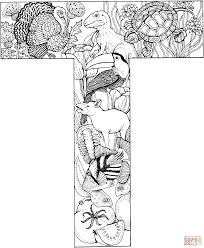 Small Picture Letter T with Animals coloring page Free Printable Coloring Pages