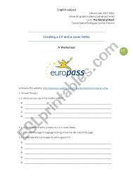 Europass Cover Letters Creating A Cv And A Cover Letter Esl Worksheet By Teresasimoes