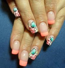 nail polish color for spring 2015. enjoy this lush floral ensemble on your nails. the french manicure is with a light nail polish color for spring 2015