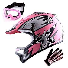 Wow Youth Motocross Helmet Bmx Mx Atv Dirt Bike Helmet Matt Star Pink Goggles Skeleton Pink Glove Bundle