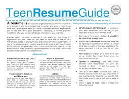 Cover Letter Teenage Resume Examples Youth Resume Examples Teenage