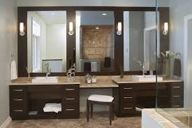 stylish modular wooden bathroom vanity. Modern Brown Stained Mahogany Wood Double Vanity With Three Mirrors Panel, Adorable Bathroom Stylish Modular Wooden T
