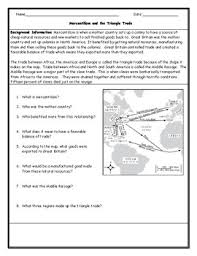 Mercantilism Chart Mercantilism And Triangle Trade Map Worksheet With Answer Key