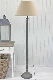 Grey Floor Standing Lamp With Linen Shade Lighting