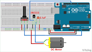 dc motor sd control circuit diagram using arduino and potentiometer