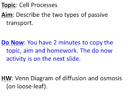 Venn Diagram Diffusion And Osmosis Topic Cell Processes Aim Describe The Two Types Of Passive
