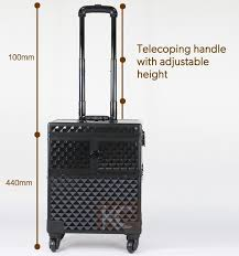 freeshipping to us mexico canada diamond pattern water cube aluminum makeup trolley case cosmetics organizer