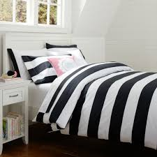 cottage stripe duvet cover sham black