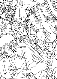Naruto Vs Sasuke Anime Coloring Pages