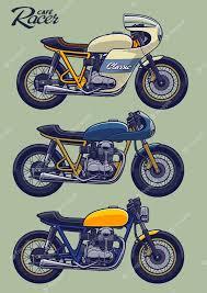 premium vector cafe racer bike set