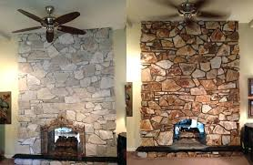 fireplace remodel stone over brick a project before left and after right recoloring brick fireplace remodel with stone