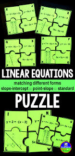 puzzle intended to link aspects of linear equations and there graphs hands on activity for grades pre algebra