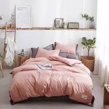 pink duvet cover set cotton bedding set pink sheet teen room decoration girl single bed sheets kids modern quilt cover set solid duvet covers bedroom linens
