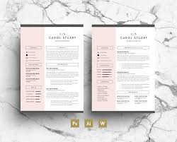 Etsy Resume Template Professional Resume Template Pink Gray Simple Modern Layout 1