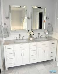 double vanity with two mirrors. before and after small bathroom makeovers big on style double vanity with two mirrors n
