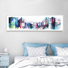 Wall paintings for office Blue Panorama City Architecture Metropolis Wall Art Picture Abstract Paintings Watercolor Buildings Canvas Print Home Office Poster Dhgatecom Panorama City Architecture Metropolis Wall Art Picture Abstract