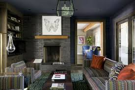 charcoal gray and navy blue contemporary living room