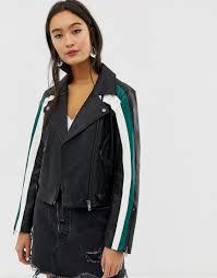 only black colour block faux leather biker jacket lyst view fullscreen