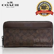 COACH F75000 Men s Signature Accordion Wallet  Mahogany