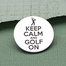 ball markers. keep calm silver golf ball marker markers