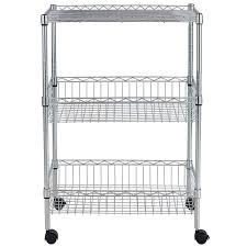 3 tier wire shelves display rack basket organizer 60x35x90cm chrome