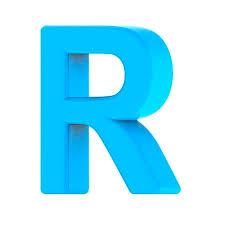 How To Right A Letter Interesting 48d Right Leaning Light Blue Letter R 48D Rendering Graphic Isolated
