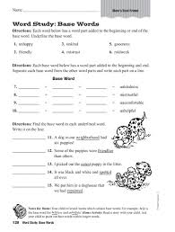 Word Study Worksheet Word Study Base Words Worksheet For 3rd 4th Grade