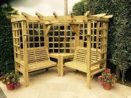 seat garden arbour wooden pergola seat