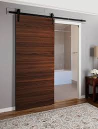 planum 0010 barn door interior sliding flush panel modern closet wood chocolate ash brown 30 x 84 7ft with steel rail track 6 6ft hangers