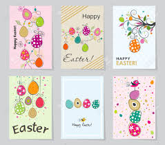 Set Of Colored Easter Greeting Cards Design Template Creative