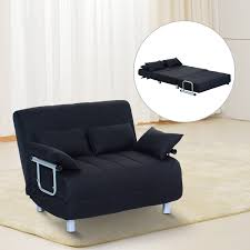 Double Sofa Bed Homcom Double Sofa Bed W Pillows Black Aosomcouk