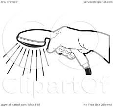 shower head clipart. Clipart Of A Black And White Hand Holding Shower Head - Royalty Free Vector Illustration By Lal Perera ,