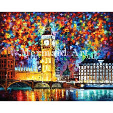 hand painted oil painting big ben london on canvas for abstract thick palette knife painting living