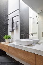 Mark St, Fitzroy North Ensuite Bathroom, chevron tile pattern, timber  joinery, marble