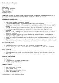 Fresher Lecturer Resume Format Resume Format Sample College Lecturer Resume