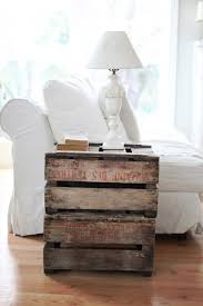 Furnitures:Room Decor With White Sofa And Pallet Side Table Fear Cone White  Table Lamp