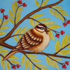 art Bird print painting Sparrow illustration 10x10 nature art print tree  leaves red berry branch blue green Papa Bird print by Marisol… | Bird  prints, Art, Painting