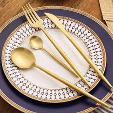 silverware sets gold. Beautiful Gold Gold Silverware Set Golden Cutlery Sets 1810 Stainless Steel Dinnerware  Dinner Knife And Fork Scoops Tableware Wildlife Yellow  G