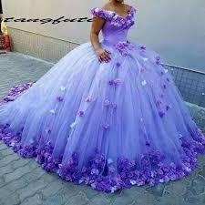 Ball Gown Quinceanera Dresses Purple Handmade Flowers Bridal ...