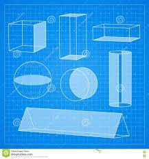 Simple Blueprint Simple Geometric Shapes On Blueprint Background Stock Illustration